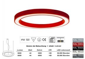 Pendelleuchte LED Ring SD 650mm in allen RAL Farben / Licht direkt