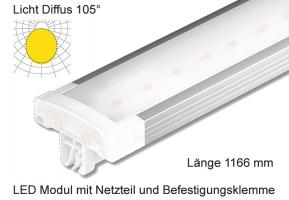 Schienen Linear LED Leuchte 1166 mm Länge Lichtverteilung Diffus 105°