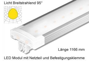Schienen Linear LED Leuchte 1166 mm Lichtverteilung Breitstrahlend 95°