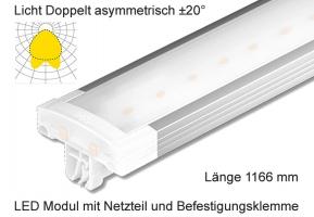 Schienen Linear LED Leuchte 1166 mm Lichtv. Doppelt asymmetrisch ±20°