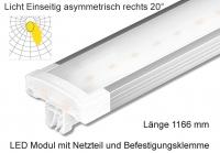 Schienen Linear LED Leuchte 1166 mm Lichtv. Einseitig asymmetrisch rechts